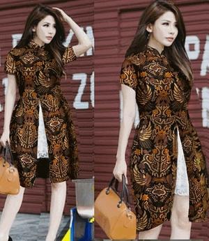 Baju Dress Pendek Wanita Motif Batik Kombinasi Brukat Model Terbaru Modern