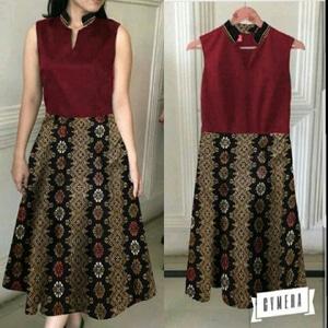 Baju Dress Pendek Wanita Motif Batik Lengan Buntung Modern Model Terbaru