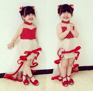 Baju Dress Pesta Anak Perempuan Warna Merah Motif Polkadot Mermaid Modern