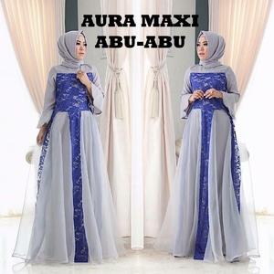 Baju Gamis Pesta Long Dress Hijab Wanita Kombinasi Brukat Modern Model Terbaru