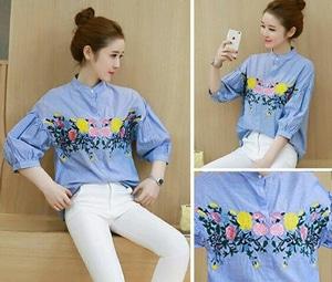 Baju Hem Biru Cewek Kemeja Wanita Motif Bunga Bordir Lengan Balon Model Terbaru