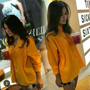Baju Hem Cewek Kemeja Wanita Lengan Panjang Warna Mustard Model Terbaru