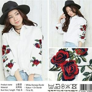 Baju Hem Cewek Kemeja Wanita Warna Putih Kombinasi Bordir Bunga Model Terbaru