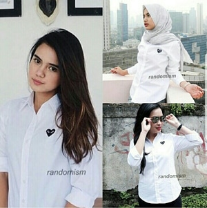 Baju Hem Garcon Cewek Kemeja Kerja Wanita Warna Putih Lengan Panjang Modern