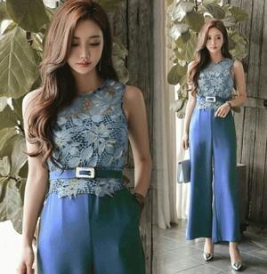 Baju Jumpsuit Wanita Modern Kombinasi Bahan Lace Cantik Model Terbaru ala Korea