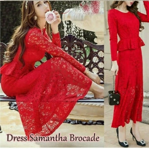 Baju Long Dress Pesta Panjang Wanita Bahan Brukat Warna Merah Cantik Model Terbaru