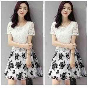 Baju Mini Dress Pendek Fashion Wanita Bahan Brukat Kombinasi Motif Cantik Modern