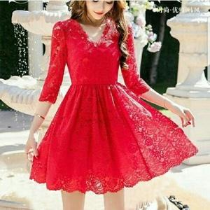 Baju Mini Dress Pendek Natal Pesta Wanita Bahan Brukat Modern Cantik Model Terbaru