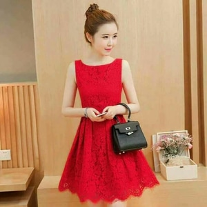 Baju Mini Dress Pendek Pesta Wanita Bahan Brukat Lengan Buntung Model Terbaru