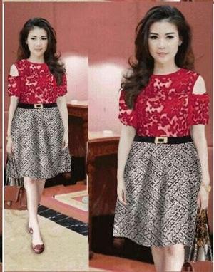 Baju Mini Dress Pendek Pesta Wanita Motif Batik Kombinasi Brukat Model Terbaru