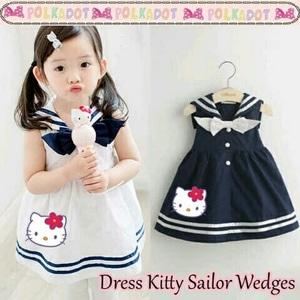 Baju Mini Dress Pendek Sailor Anak Perempuan Gambar Hello Kitty Model Terbaru
