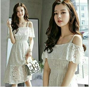 Baju Mini Dress Pendek Wanita Bahan Brukat Warna Putih Cantik Model Terbaru