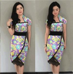 Baju Mini Dress Pendek Wanita Motif Batik Cantik Model Terbaru Modern Murah