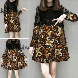 Baju Mini Dress Pendek Wanita Motif Batik Lengan Panjang Modern Model Terbaru