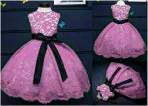 Baju Mini Dress Pesta Pendek Anak Perempuan Bahan Brukat Cantik Model Terbaru
