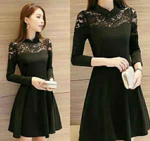 Baju Mini Dress Pesta Wanita Kombinasi Bahan Brukat Warna Hitam Model Terbaru