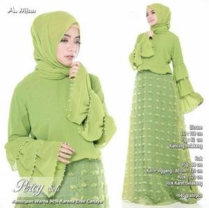 Baju Setelan Hijab Modis dan Rok Panjang Bahan Rubiah Linen Modern Model Terbaru