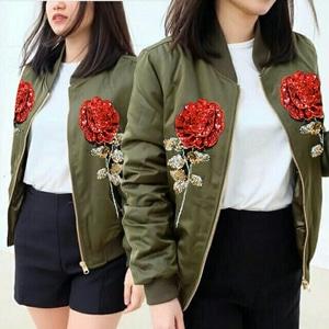 Jaket Bomber Bunga Wanita Model Terbaru Cantik Keren Modern Murah Masa Kini