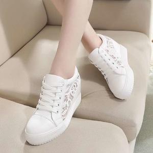 Sepatu Tali Wanita Warna Putih Brukat Wedges Model Terbaru Cantik dan Modern