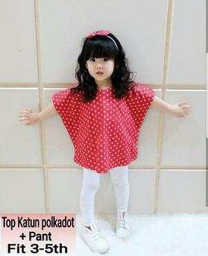 Setelan Baju Batwing Motif Polkadot dan Celana Panjang Anak Perempuan Cantik