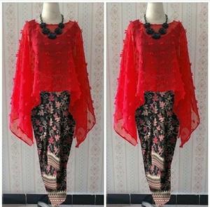 Setelan Baju Kebaya Kondangan Wanita Bahan Rubiah Linen dan Rok Motif Batik Panjang