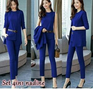 Setelan Baju Long Cardigan dan Celana Panjang Wanita 3 in 1 Modis Model Terbaru