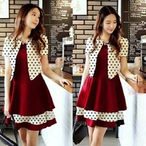 Setelan Baju Mini Dress Pendek dan Cardigan Wanita Motif Polkadot Model Terbaru