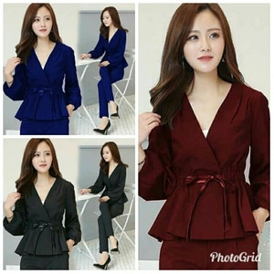 Setelan Baju Peplum dan Celana Panjang Wanita Modis Model Terbaru Cantik ala Korea