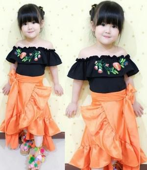 Setelan Baju Sabrina dan Rok Anak Perempuan Cantik Modern Model Terbaru