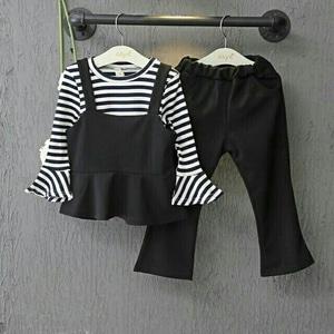 Setelan Baju dan Celana Anak Perempuan Motif Salur Belang Cantik Model Terbaru