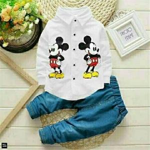 Setelan Baju dan Celana Panjang Anak Laki-laki Gambar Kartun Mickey Mouse Keren