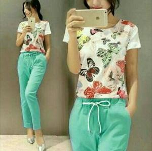 Setelan Baju dan Celana Panjang Wanita Gambar Kupu-kupu Modis Cantik Modern