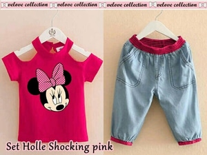 Setelan Baju dan Celana Pendek Anak Perempuan Gambar Kartun Minnie Mouse Modern