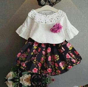 Setelan Baju dan Rok Mini Pendek Anak Perempuan Motif Bunga Model Terbaru