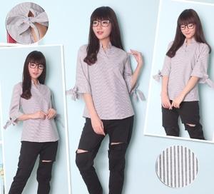 Baju Atasan Wanita Blouse Cantik Motif Salur Belang Modern