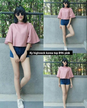 Baju Atasan Wanita Blouse Crop Lengan Pendek Modis Cantik Model Terbaru Modern