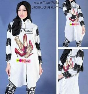 Baju Atasan Wanita Blouse Hijab Warna Putih Lengan Panjang