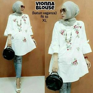 Baju Atasan Wanita Blouse Hijab Warna Putih Motif Cantik