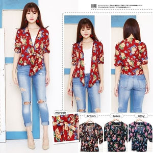 Baju Atasan Wanita Blouse Kimono Motif Bunga Modern