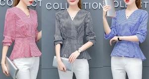 Baju Atasan Wanita Blouse Kimono Motif Kotak Modern