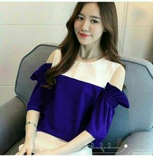 Baju Atasan Wanita Blouse Lengan Pendek Bahu Bolong Modern Cantik Model Terbaru