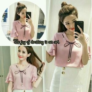 Baju Atasan Wanita Blouse Lengan Pendek Cantik Modis Model Terbaru Modern