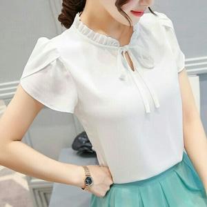 Baju Atasan Wanita Blouse Lengan Pendek Modis Cantik Modern Model Terbaru
