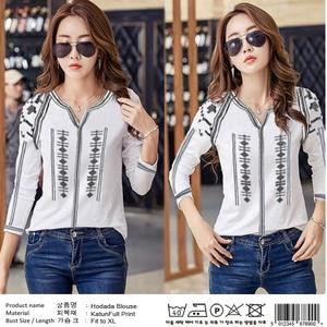 Baju Atasan Wanita Blouse Motif Cantik Warna Putih Modern