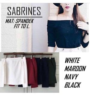 Baju Atasan Wanita Blouse Sabrina Polos Lengan Pendek Modern