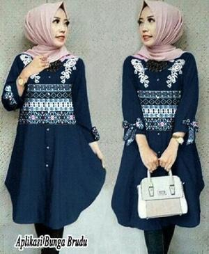 Baju Atasan Wanita Lengan Panjang Blouse Hijab Tunik Motif Cantik Modis Terbaru