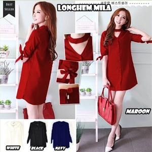 Baju Dress Pendek Long Hem Wanita Modern Model Terbaru