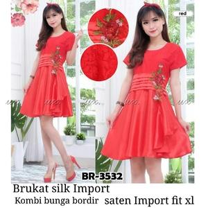 Baju Dress Pendek Wanita Kombinasi Bahan Brukat Merah