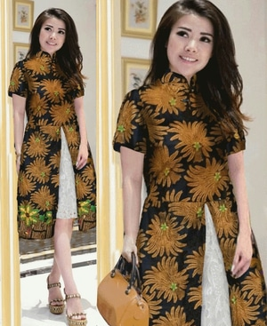 Baju Dress Pendek Wanita Motif Batik Kondangan Modern Model Terbaru Cantik