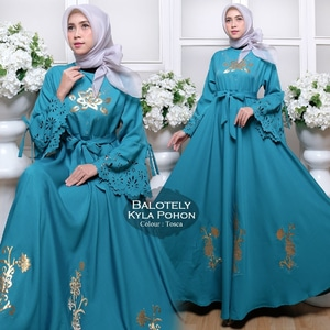 Baju Gamis Long Dress Muslim Bahan Ballotelly Modern Model Terbaru